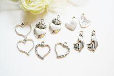 10 stk hjerte charms mix