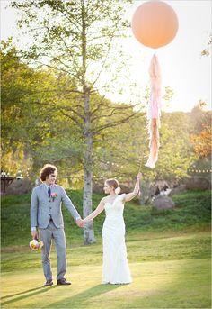 Malibu and Vine wedding inspiration shoot.  Peach balloon.  Image by Brian Leahy Photography
