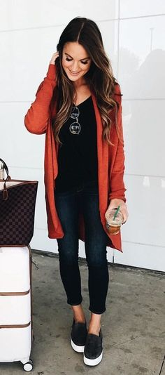 #fall #outfits women's orange cardigan with black jeans #casualwinteroutfit
