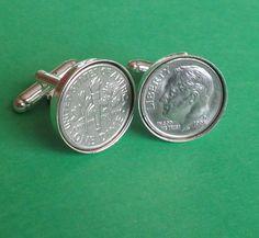 1995 American Coin Cufflinks, Birthday Gift, President Roosevelt coin by… 21st Birthday, Birthday Gifts, President Roosevelt, American Coins, Coin Collecting, Silver Color, Etsy Vintage, Irish, Cufflinks
