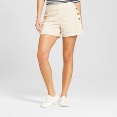 Women's Brushed Linen Side Button Sailor Shorts - Xoxo (Juniors') Beige 4