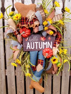Hello Autumn🍃🍂🍁🍂🍃 what a fun whimsical fall scarecrow wreath? He is guaranteed to brighten up your front door Thanksgiving Wreaths, Autumn Wreaths, Deco Mesh Wreaths, Door Wreaths, Fall Scarecrows, Scarecrow Wreath, Harvest Decorations, Sunflower Wreaths, Hello Autumn