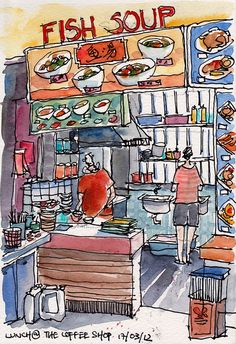Fish-soup stall at a local Coffee-shop by PaulArtSG