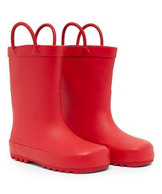 Red Pull On Wellies