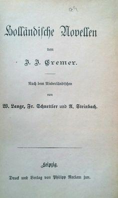 De Duitse vertaling van de Betuwsche novellen uit 1880. In totaal zijn 15 novellen opgenomen. Www.jacobcremer.nl