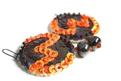 Sequin Earrings Brown Orange Embroidered felt by velanch on Etsy, $34.00