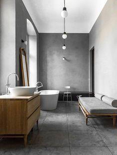 wood and concrete bathroom / interior design Grey Bathrooms, Beautiful Bathrooms, Modern Bathroom, Small Bathroom, Bathroom Layout, Budget Bathroom, Vanity Bathroom, Bathroom Ideas, Bathroom Trends