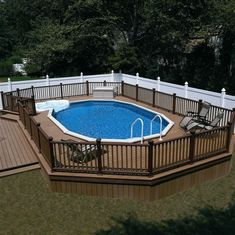 Check out some pictures of customer built decking (full decking) around there above ground pool! Here you can get an idea of what your backyard can become! #pooldeckideaswood