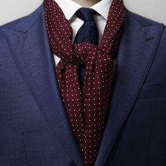 Burgundy Dots Wool & Silk Scarf  | Eton Shirts Norway