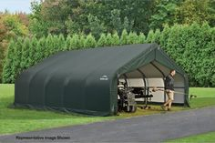 Quick setup and take down make the ShelterLogic 18 x 20 x 10 ft. Peak Frame Garage Shelter makes it easy to protect your car, truck just about anywhere. Storage Shed Kits, Garage Storage, Home Depot Shed, Steel Carports, Sheds For Sale, Shelter Design, Garage Shed, Car Garage, Wood Shed