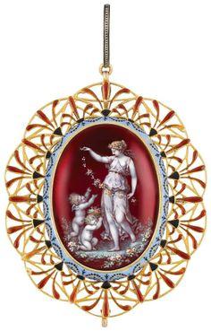 Antique gold and enamel pendant by Carlo Giuliano, circa 1865. Via Diamonds in the Library.