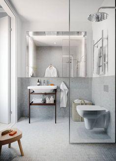 petite salle de bain moderne mosaique gris clair