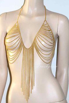 Trashglam golden chandelier body chain harness armor BODY jewelry Bralette