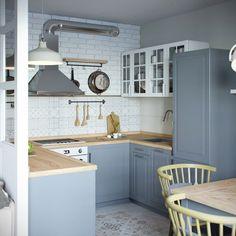 mini appartamento in azzurro, bianco e legno | la cucina strutturata a C