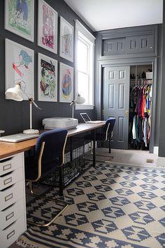 Gray office/bedroom