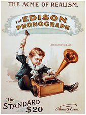 Edison Phonograph The Acme Of Realism Poster. Images Vintage, Vintage Artwork, Vintage Postcards, Vintage Ads, Retro Ads, Vintage Advertising Posters, Old Advertisements, Advertising Signs, Radios