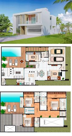 Sophisticated Two Storey House Design with Modern Look - House And Decors House Layout Plans, House Layouts, House Floor Plans, Two Story House Design, Simple House Design, Two Storey House Plans, Sims, Two Story Homes, Diy House Projects