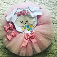 Rain of Love Tutu Pearl Outfit Rainbow Birthday Party, Unicorn Birthday Parties, First Birthday Parties, Birthday Party Themes, Girl Birthday, Diy Clothes And Shoes, 1st Birthdays, Romantic Gifts, Sewing For Kids