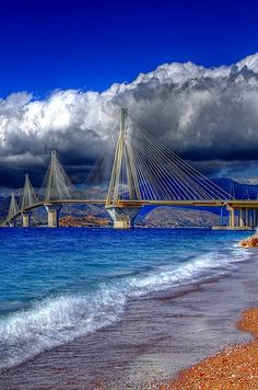 Low clouds over the Rio- Antirio Bridge - Photo taken from the side of Rio, Peloponnese, Greece Mykonos, Santorini, Places Around The World, Around The Worlds, Places To Travel, Places To Visit, Beautiful Places, Beautiful Pictures, Patras