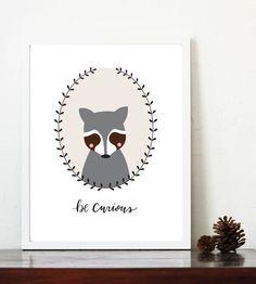 Be Curious Raccoon Nursery Art 8x10 printable by LittleKitDesign