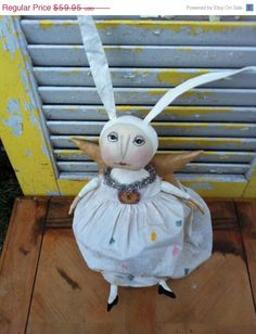 Welcome Spring Sale Primitive Easter Angel by Rabbithollowprims, $53.96