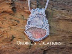 Ondines Creations Clay Pendant   Rough Rhodochrosite, Clear Quartz Cluster Crystal Mineral Healing Stone Hand Crafted Pendant # 140 by OndinesCreations on Etsy