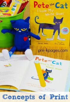 Learning Concepts of Print with Pete the Cat in Preschool and Kindergarten