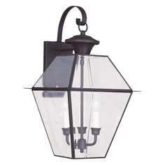 Livex Westover 2381-02 Outdoor Wall Lantern - Polished Brass - 12W in. - 2381-02