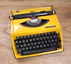Gelbe Vintage Schreibmaschine // yellow vintage typewriter by tea & poppies via DaWanda.com