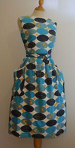 VINTAGE 1950S BOLD ATOMIC GRAPHIC PRINT COTTON FULL SKIRT SUN DRESS