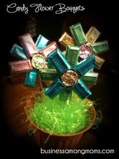 Candy flower bouquets…great for teacher gifts, party centerpieces and marketin… Candy flower bouquets…great for teacher gifts, party centerpieces and marketing gifts for mompreneurs! Easter Crafts, Holiday Crafts, Holiday Fun, Easter Ideas, Gift Bouquet, Candy Bouquet, Craft Gifts, Diy Gifts, Just In Case