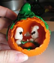 """Watch the """"Product Video"""" and download the PDF to make this fun Halloween Decoration - Both $0 - Free!  http://www.polyclayplay.com/Cart/products/Free-Tutorial-%252d-Ghost-Filled-Pumpkin.html"""