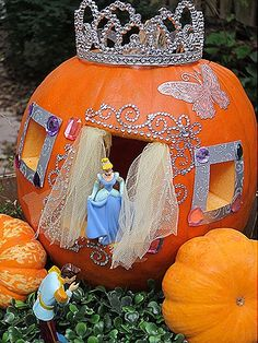 Your little princess will love this adorable Cinderella Halloween Pumpkin!