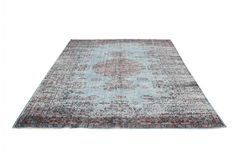 Overdyed Vintage Hand Woven Turkish Rug  (5.74 ft x 8.85 ft) Free Shipping Worldwide AH0024 Red - Indigo blue