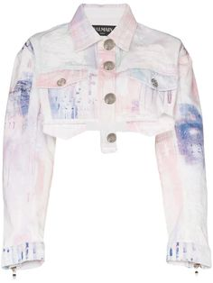 Image 1 of Balmain spray-paint cropped denim jacket Shop Balmain spray-paint cropped denim jacket Stage Outfits, Kpop Outfits, Cute Outfits, Fashion Outfits, Ashley Clothes, Balmain Jacket, Cropped Denim Jacket, Soyeon, Women Wear