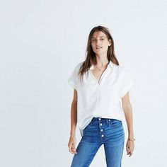 You asked for it—our feminine take on a slightly oversized shirt returns, this time in a drapey white weave. Effortless and cool with a soft silhouette and easy, open sleeves.