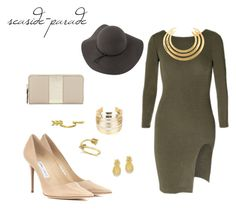 """Olive Baby"" by seaside-parade on Polyvore featuring Sans Souci, Jimmy Choo, Kate Spade, WithChic, Kevin Jewelers, Gorjana, Aurélie Bidermann and Allurez"