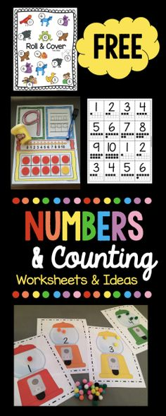 Huge pack of FREE numbers and counting resources - worksheets, games and ideas! Perfect for preschool - pre-k and kindergarten! Common core aligned counting and cardinality unit too