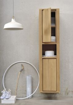 Simple Guidance For You In Tall Wooden Bathroom Cabinets - OAK SHADOW Tall bathroom cabinet by Ethnicraft Bathroom Corner Cabinet, Wall Mounted Bathroom Cabinets, Wall Mounted Vanity, Wood Bathroom, Bathroom Storage, Bathroom Ideas, Corner Shower Stalls, Cupboard Shelves, Storage Cabinets
