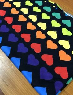 187e5f93f0b Brushed polyester fabric Love Rules, Rainbow Heart, Cotton Spandex, Knitted  Fabric, Stripes