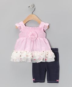 Take a look at this Light Pink Ruffle Tunic & Black Leggings - Infant by Youngland on #zulily today!