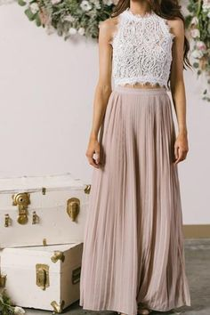 Simone Beige Pleated Maxi Skirt.