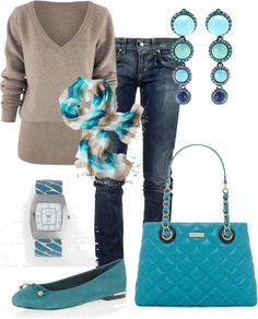 Aqua Purse & Flats. Tan Sweater. Blue Jeans. Aqua, Tan & White Print Scarf