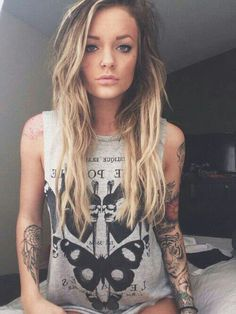 I wish tattoos were ''career'' acceptable. Cause tatto sleeves on girls, are gorgeous!