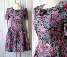Vintage 1980s Floral Print Full Skirt Rockabilly Dress by SadieBess, $24.00