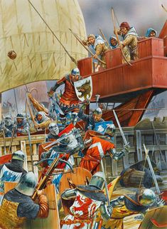 Boarding parties, Battle of Sluys 1340, Hundred Years War