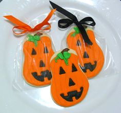 Jack O Lantern Sugar Cookie Favors Gourmet by SweetRoseCookies