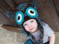 Handmade Crochet Retro Owl Hat for all ages
