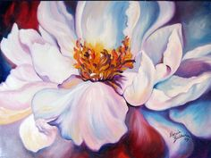 PEONY on RED an ORIGINAL OIL PAINTING 24x18 by M BALDWIN