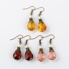 drop glass bead earring